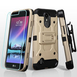 For LG Harmony/K10/K20 Plus/V5 Gold/Black 3-in-1 Kinetic Protector Cover Combo