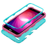 For LG Fiesta/X Power2 Teal Green/Electric Pink TUFF Hybrid Case Cover w/Holster