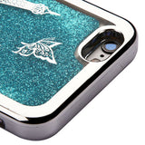 For iPhone 6/6s Silver/Eiffel Tower/Blue Quicksand Glitter Hybrid Protector Case