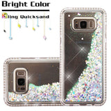 For Samsung Galaxy S8 Diamante Frame/Quicksand Silver Hearts Glitter Hybrid Case