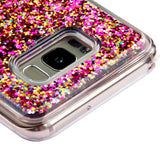For Samsung Galaxy S8 Plus Hot Pink Polygons Quicksand Glitter Protector Cover
