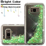 For Samsung Galaxy S8 Plus Diamante Frame/Quicksand Green Hearts Glitter Cover