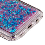 For Samsung Galaxy S8 Plus Diamante/Quicksand Dark Blue Hearts Glitter Cover