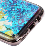 For Samsung Galaxy S8 Plus Daffodils/Dark Blue Hearts Quicksand Glitter Cover