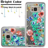 For Samsung Galaxy S8 Plus Watercolor Flowers/Green Quicksand Glitter Cover