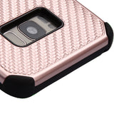 For Samsung Galaxy S8 Plus Rose Gold Mat Weave/Black Hybrid Protector Case Cover