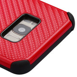 For Samsung Galaxy S8 Plus Red Mat Weave/Black Hybrid Hard Protector Case Cover