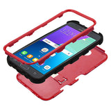 For Samsung Galaxy J3/Emerge/Sol 2 Red/Black TUFF Hybrid Protector Stand Cover