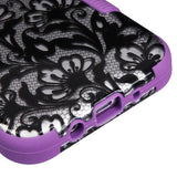 For Samsung Galaxy J3/Emerge/Sol 2 Black Lace Flowers/Electric Purple TUFF Cover