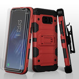 For Samsung Galaxy S8 Red/Black 3-in-1 Storm Tank Hybrid Cover Combo w/ Holster