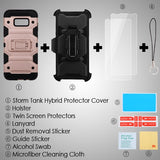 For Samsung Galaxy S8 Rose Gold/Black 3-in-1 Storm Tank Cover Combo w/ Holster