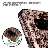 For Samsung Galaxy S8 Black Four-Leaf Clover/Black TUFF Hybrid Protector Cover