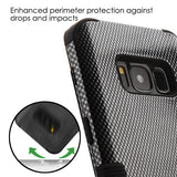 For Samsung Galaxy S8 Carbon Fiber/Black TUFF Hybrid Phone Protector Case Cover