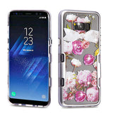 For Samsung Galaxy S8 Metallic Silver/Roses Diamante TUFF Panoview Hybrid Cover