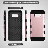 For Samsung Galaxy S8 Rose Gold/Black Brushed TUFF Trooper Hybrid Protector Case