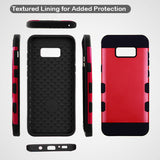 For Samsung Galaxy S8 Red/Black Brushed TUFF Trooper Hybrid Protector Case Cover
