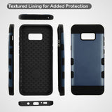 For Samsung Galaxy S8 Slate Blue/Black Brushed TUFF Trooper Protector Case Cover