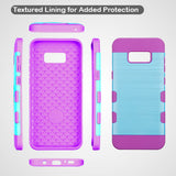 For Samsung Galaxy S8 Metallic Baby Blue/Electric Purple Brushed Trooper Cover