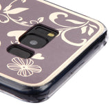 For Samsung Galaxy S8 Plus Phoenixtail Flowers Electroplating Brown Gummy Cover
