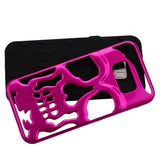 For Samsung Galaxy S8 Plus Metallic Hot Pink/Black Skullcap Protector Case Cover