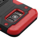 For Samsung Galaxy S8 Plus Black/Red Storm Tank Hybrid Protector Cover w/Stand