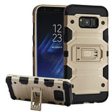 For Samsung Galaxy S8 Plus Gold/Black Storm Tank Hybrid Protector Cover w/Stand