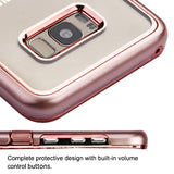 For Samsung Galaxy S8 Plus Metallic Rose Gold Spring Flowers TUFF Panoview Cover