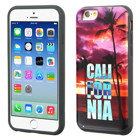 For iPhone 6s/6 California Palm Trees/Gray Slidable Card Wallet Back Case Cover