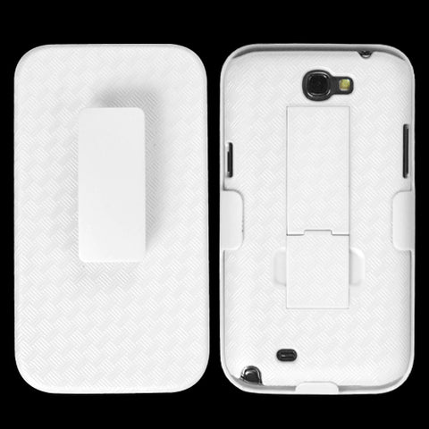 For Galaxy Note 2 Rubberized Solid Ivory White Hybrid Holste (with Stand)