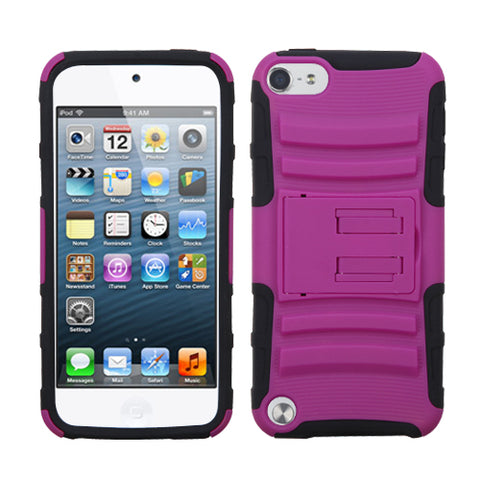 For iPod touch 6th GEN, 5th GEN Hot Pink/Black Advanced Armor Stand Case Cover