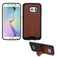 For Galaxy S6 Edge Brown Backside Black Candy Frame Case +Folding Magnetic Stand
