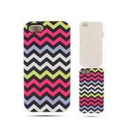 Chevron Zig Zag Pink/Navy Hard Hybrid Protector Cover Case for iPhone 5