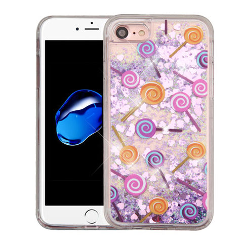 For iPhone 7 / 8 Liquid Quicksand Bling Glitter Rubber Case Protector Cover