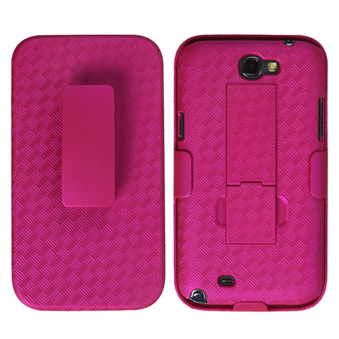 For Galaxy Note 2 Rubberized Hot Pink Hybrid Holster (with Stand)