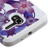 For Alcatel Tru/Stellar Purple Hibiscus/White Advanced Armor Protector Cover