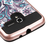For Alcatel Tru/Stellar Purple Flowers/Black Brushed Hybrid Protector Cover