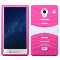 For 306 Aquos Crystal White/Hot Pink Wave Symbiosis Protector Cover (with Stand)