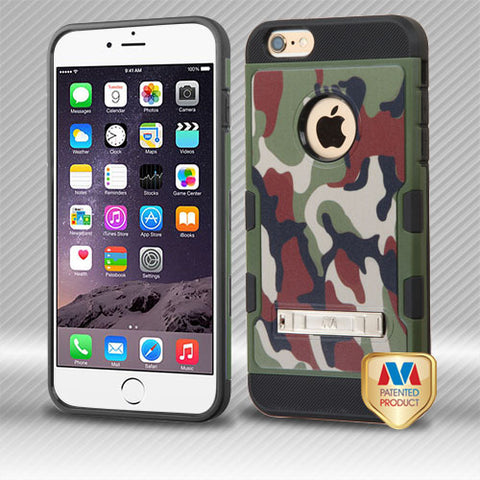 For iPhone 6S Plus/6+ Classic Camo/Black TUFF Trooper Hybrid Case Cover +Stand
