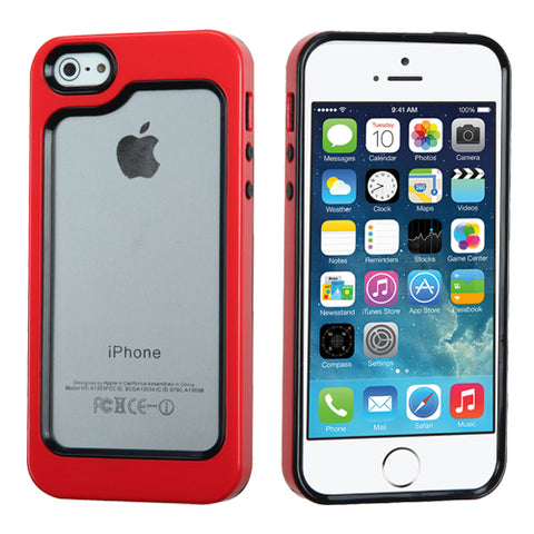 For iPhone 5s/5 Black/Solid Red MyBumper Phone Protector Cover