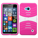 For Lumia 640 AT&T/Cricket White/Hot Pink Wave Symbiosis Case Cover (with Stand)