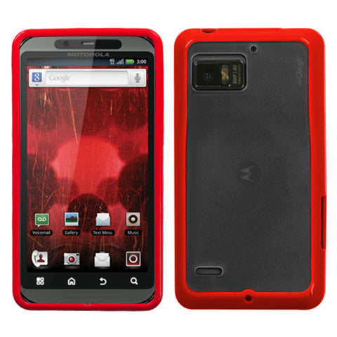 For XT875 Droid Bionic Transparent Clear/Solid Red Gummy Cover
