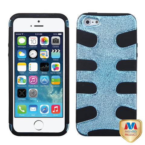 For iPhone 5s/5 Baby Blue Plating Matte Wrinkle/Black Fishbone Phone Case Cover