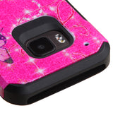 For One M9 Glittering Butterfly/Heart (Hot Pink)/Black Advanced Armor Case Cover