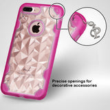 For iPhone 7 / 8 Plus Clear/Hot Pink Chali-Polygon Hybrid Armor Protector Cover