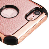 For iPhone 7 / 8 Rose Gold Lychee GrainRose Gold Plating/Black Astronoot Cover