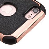 For iPhone 7 / 8 Black Lychee Grain Rose Gold Plating/Black Astronoot Case Cover