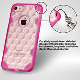 For iPhone 7 / 8  Clear/ Hot Pink Chali-Honeycomb Hybrid Rugged Protector Cover