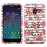 For Alcatel Tru / Stellar Pink Fresh Roses/Electric Pink TUFF Hybrid Phone Cover