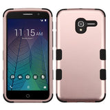 For Alcatel Tru / Stellar Rose Gold/Black TUFF Hybrid Phone Protector Case Cover