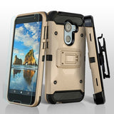 For Alcatel Walters A30 Plus Gold/Black 3-in-1 Kinetic Hybrid Case Holster Combo